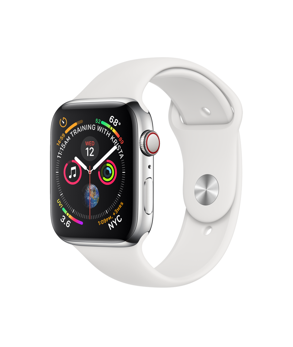 07f3eb89 Apple Watch Series 4 GPS + Cellular, 44mm Stainless Steel Case with White  Sport Band