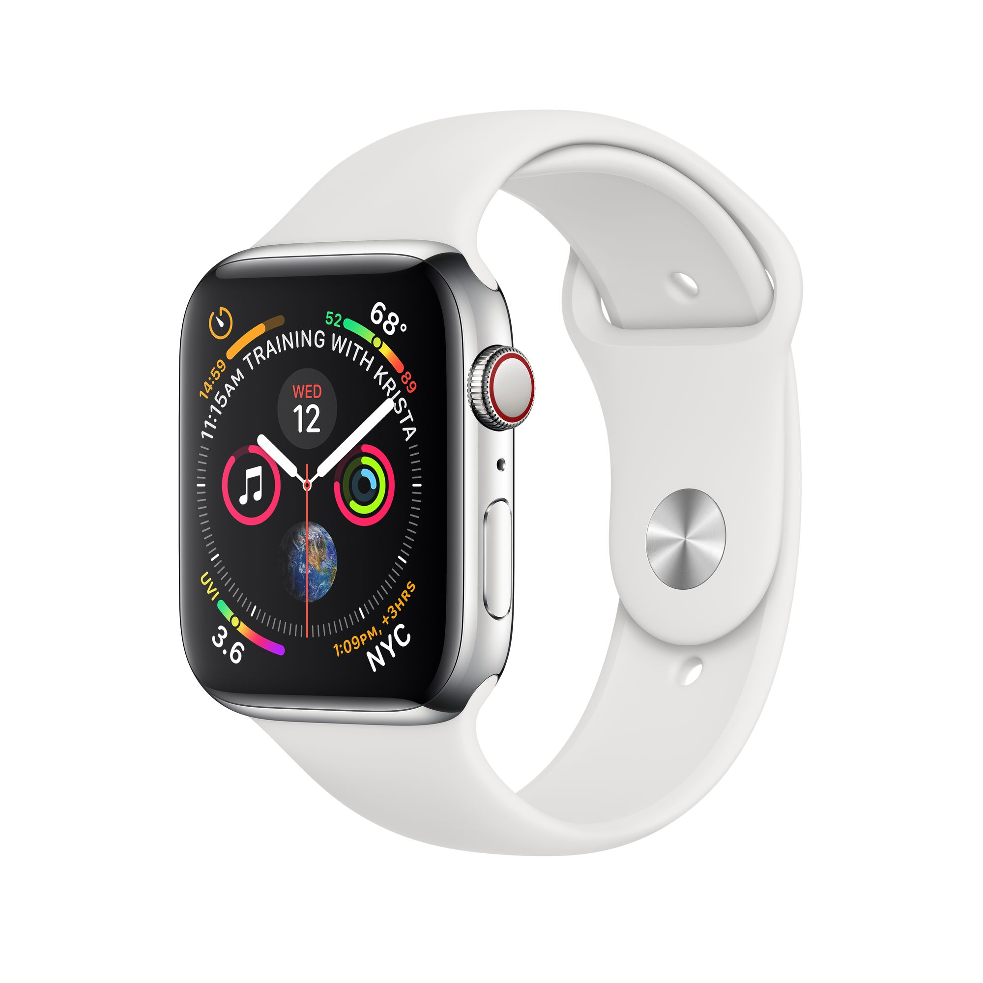 reputable site c7e61 e90e2 Apple Watch Series 4 GPS + Cellular, 40mm Stainless Steel Case with White  Sport Band