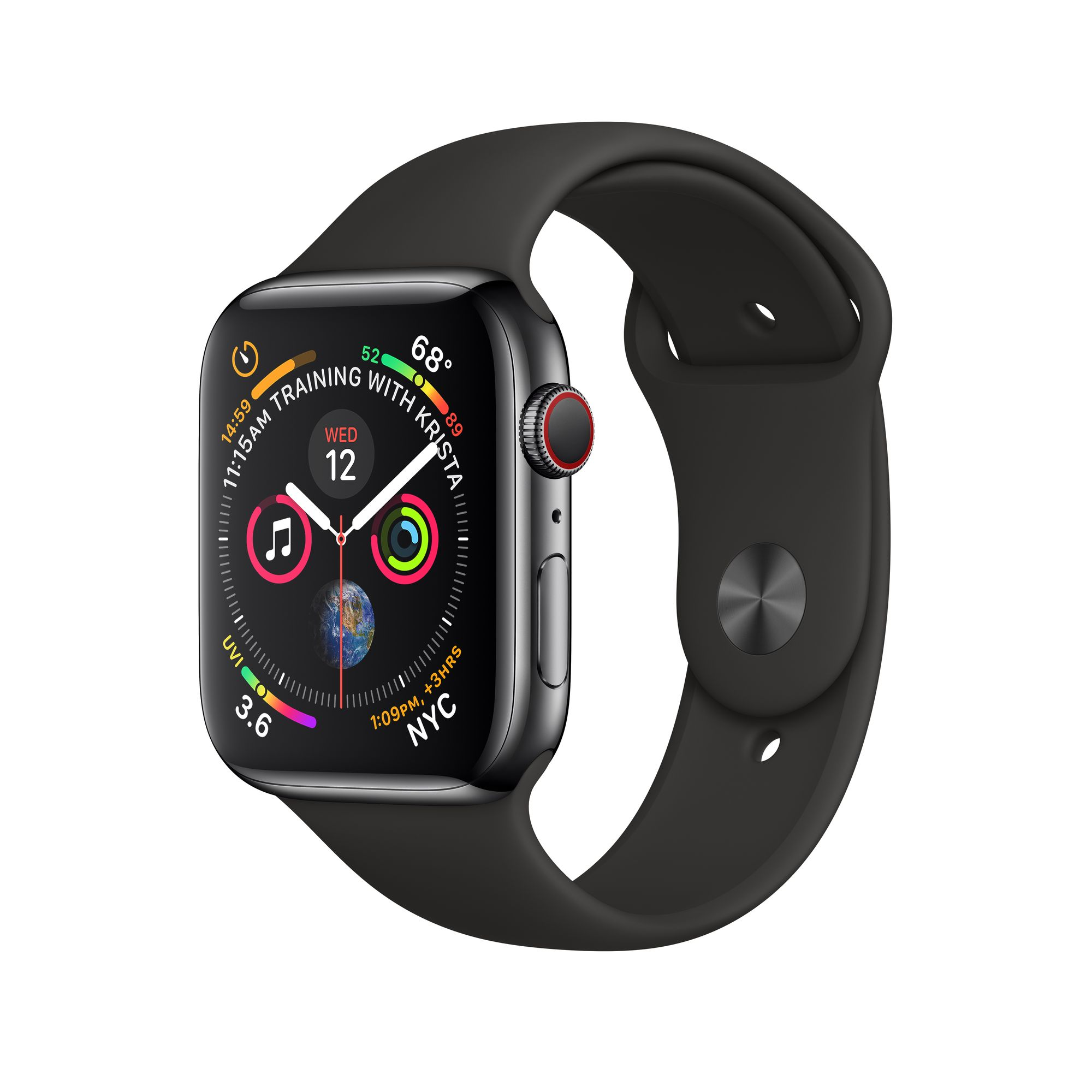 Apple Watch Series 4 Gps Cellular 40mm Space Black Stainless Steel Case With Black Sport Band