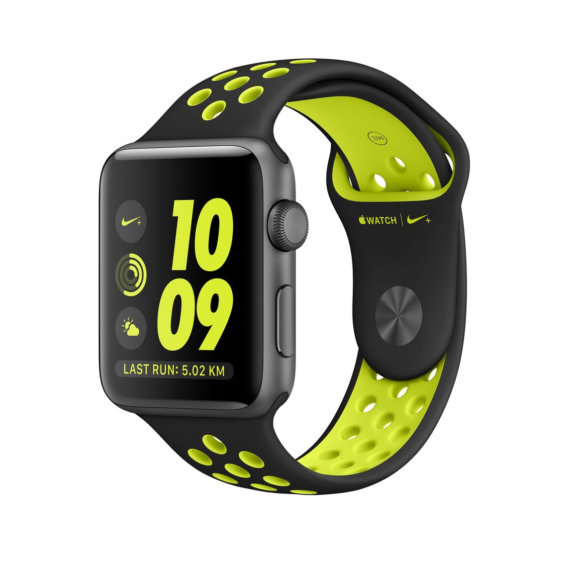 Refurbished Apple Watch Nike+ Series 2, 42mm Space Gray Aluminum Case with  Black / Volt Nike Sport Band