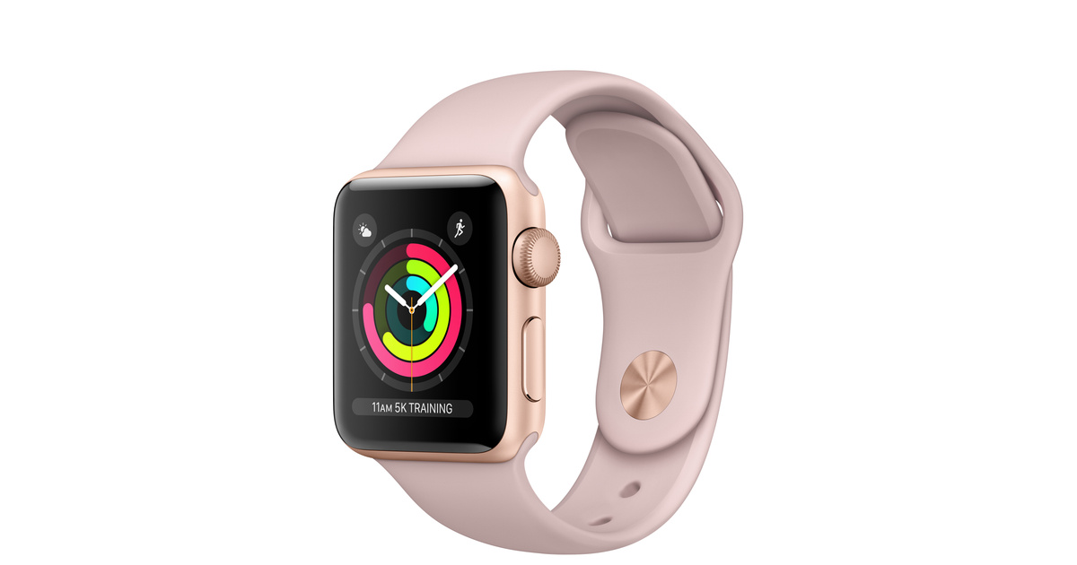 Refurbished Apple Watch Series 3 Gps 38mm Gold Aluminum Case With Pink Sand Sport Band Apple