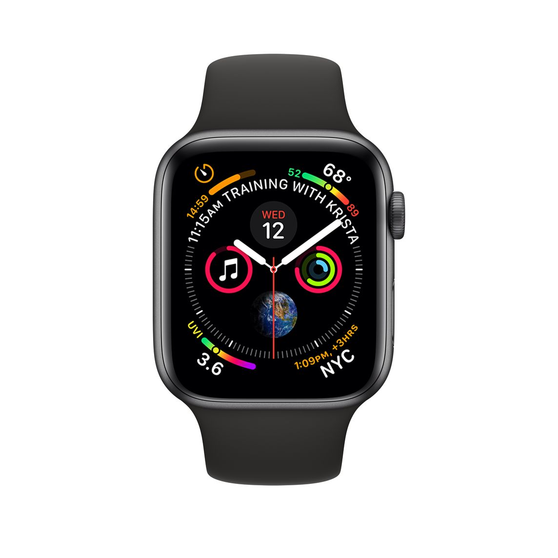 Refurbished Apple Watch Series 4 Gps 44mm Space Gray Aluminum Case With Black Sport Band Apple
