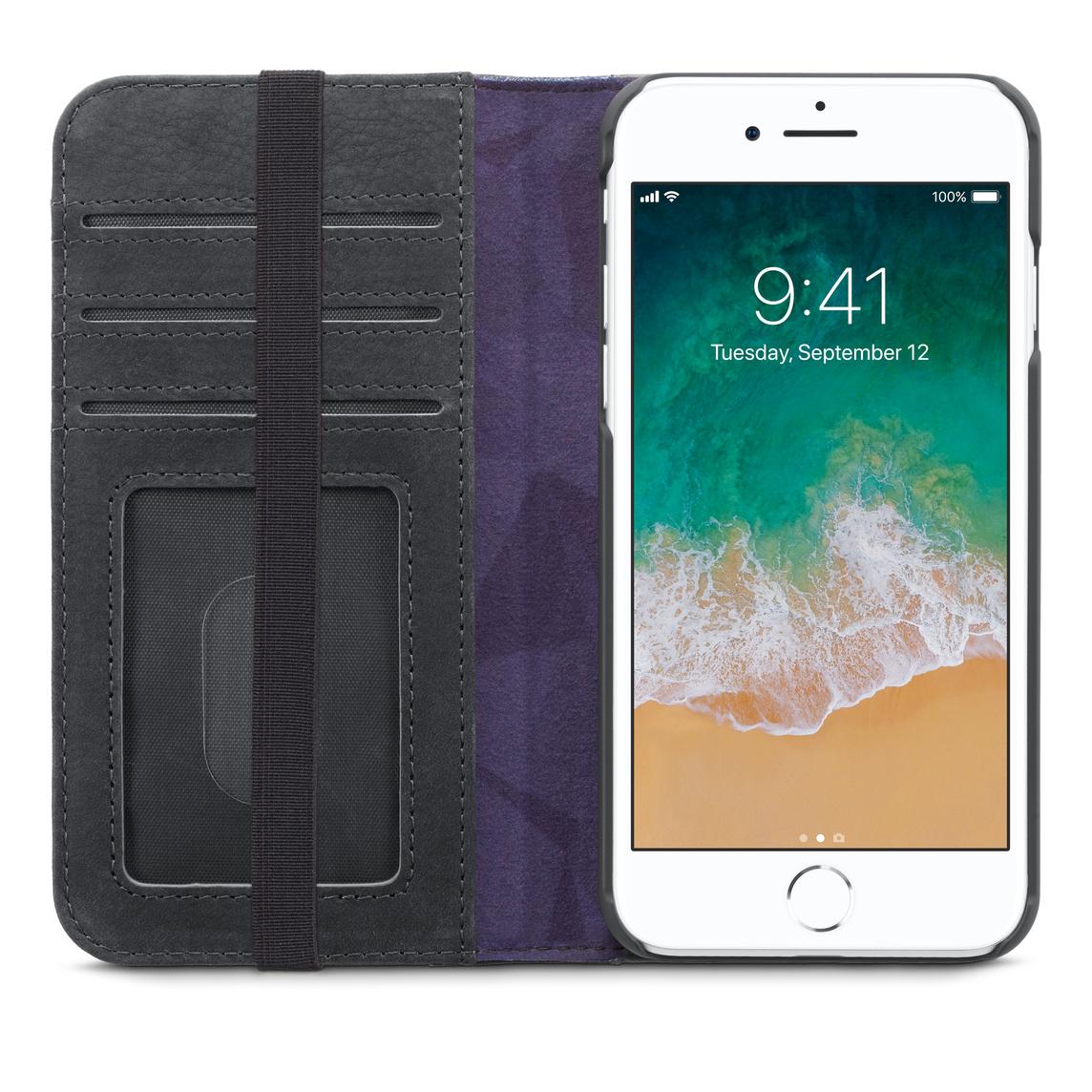 Étui-portefeuille en cuir de Decoded pour iPhone SE, iPhone 8 et iPhone 7
