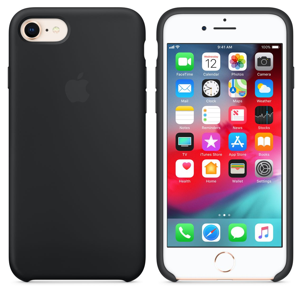 Iphone 8 7 Silicone Case Black