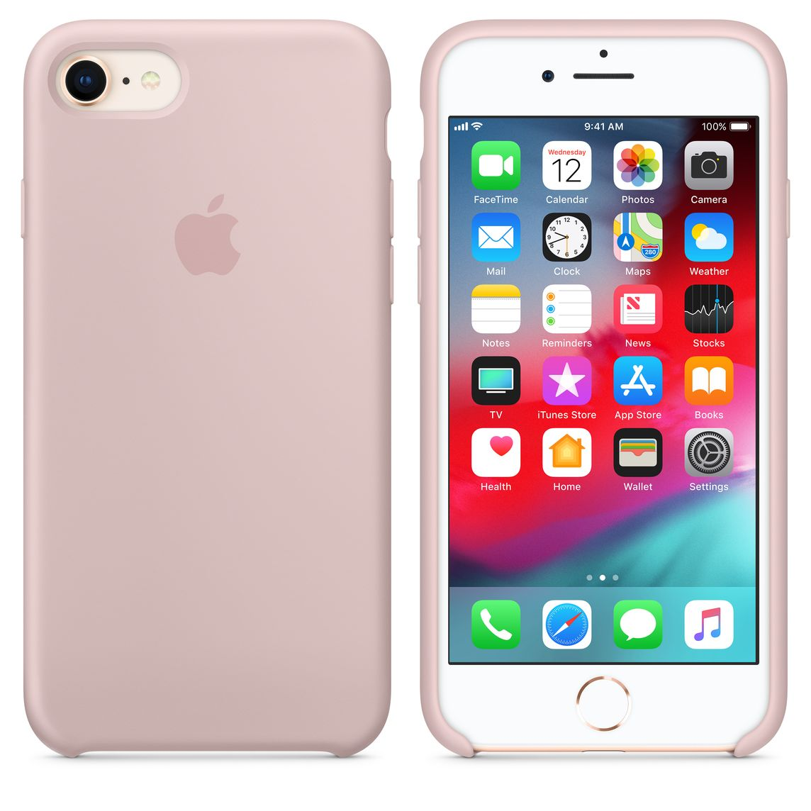 Iphone 8 7 Silicone Case Pink Sand