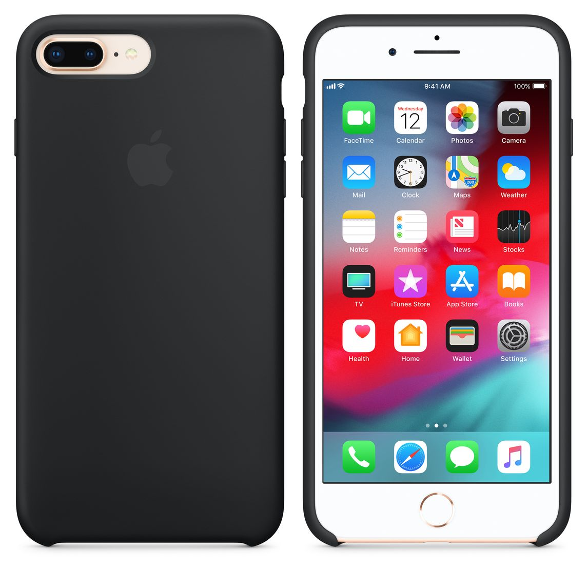 new product 4ffa1 b9c0f iPhone 8 Plus / 7 Plus Silicone Case - Black