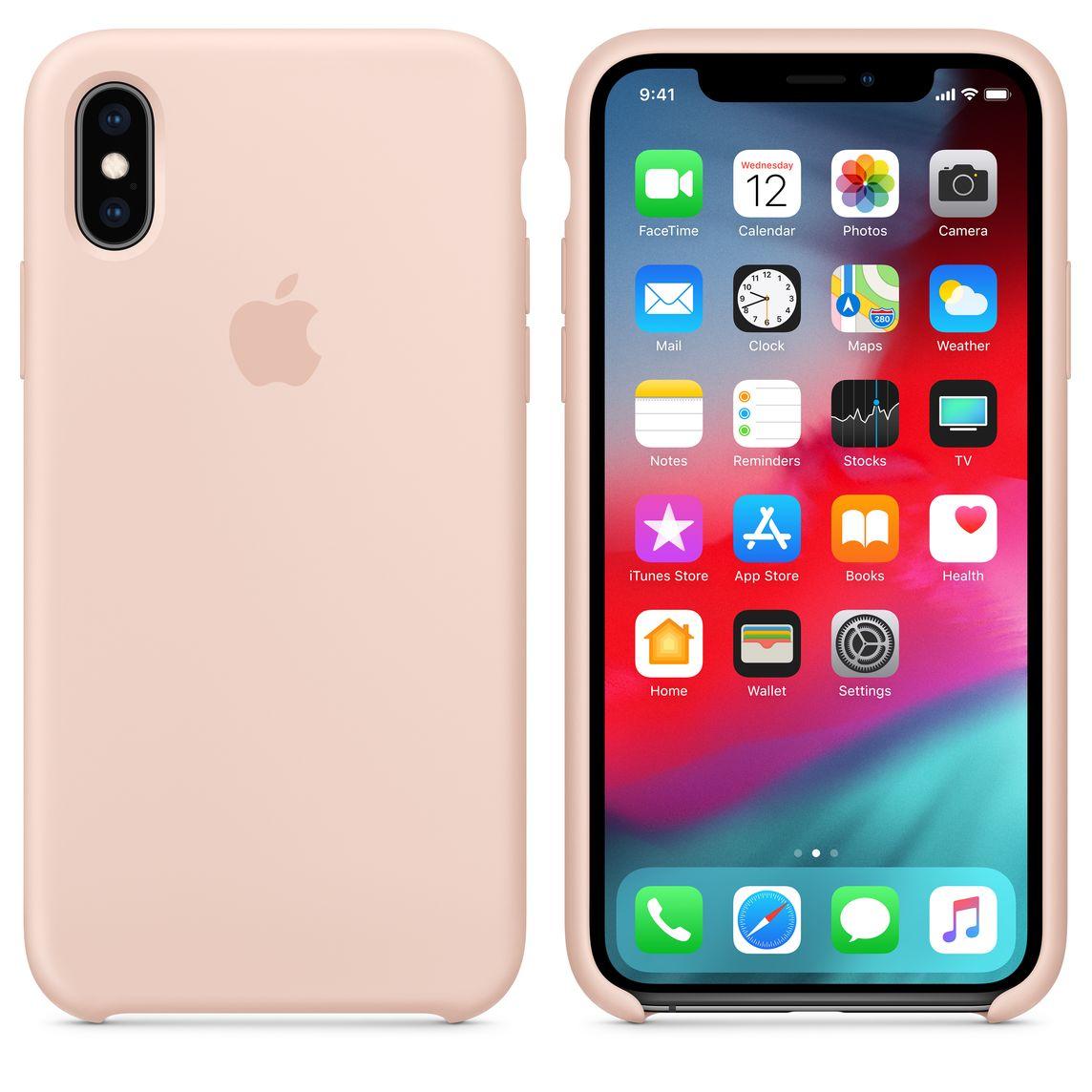 Étui en silicone pour iPhone XS - Sable rose
