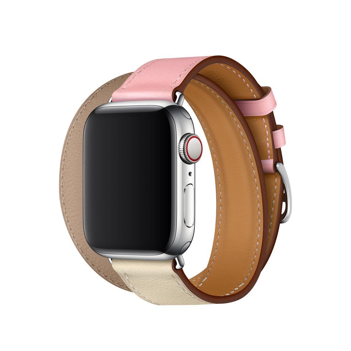 Apple Watch Hermès - 40mm Rose Sakura/Craie/Argile Swift Leather Double Tour