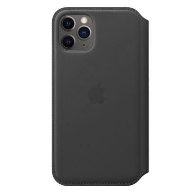 Étui folio en cuir pour iPhone 11 Pro Max - Noir