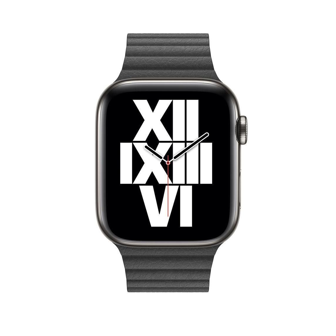 44mm Black Leather Loop Medium Apple
