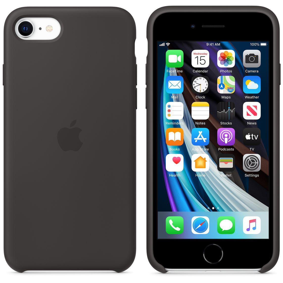 Étui en silicone pour iPhone SE - Noir