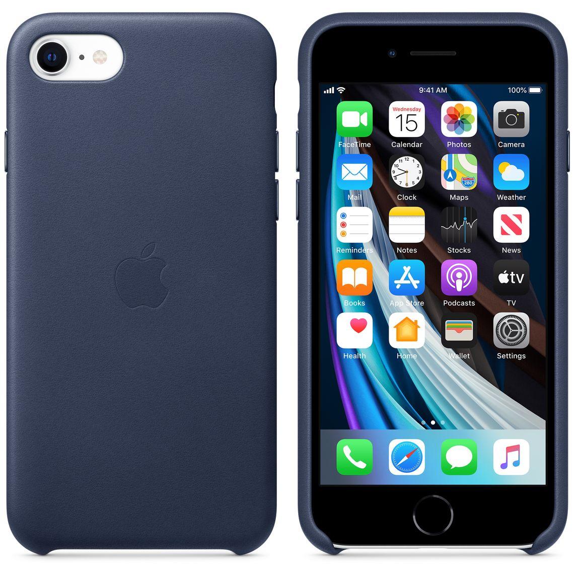 Étui en cuir pour iPhone SE - Bleu de minuit