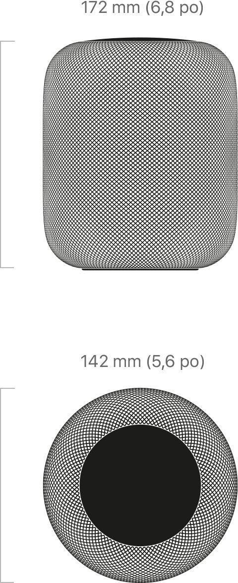 172mm de hauteur et 142mm de diamètre