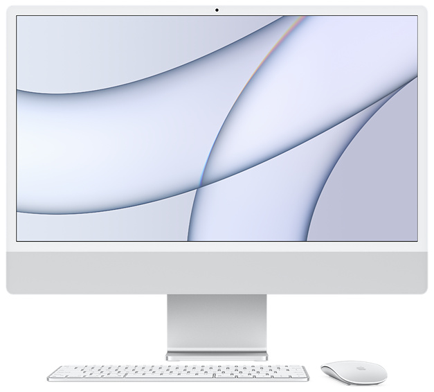 2021 Apple iMac (24-inch, Apple M1 chip with 8-core CPU and 7-core GPU, 8GB RAM, 256GB) - Silver