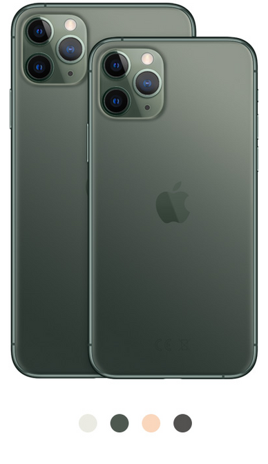 iPhone 11 Pro available in silver, midnight green, gold, and space gray