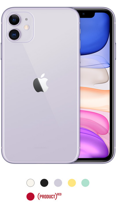 iPhone 11 available in white, black, purple, yellow, green, and product red