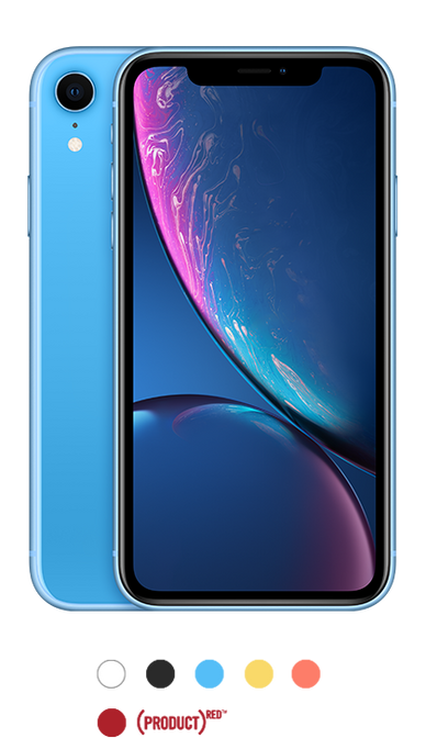 iPhone XR available in black, white, blue, yellow, coral and red