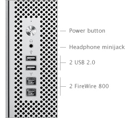 Power button, Headphone minijack, Two USB 2.0 ports, Two FireWire 800 ports