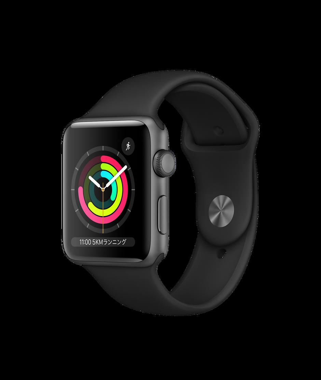 Apple Watch Series 3(GPSモデル)- 42mmスペースグレイアルミニウムケースとブラックスポーツバンド - Apple(日本)