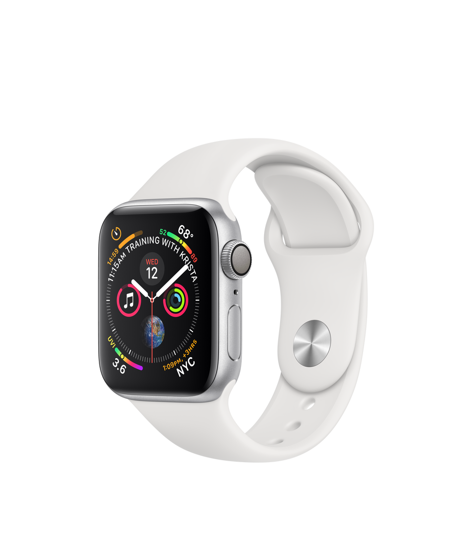 Apple Watch Series 4 (GPS), 40‑mm Silver Aluminium Case with White Sport  Band