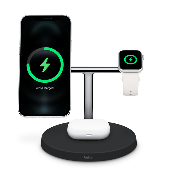 Belkin BOOST↑CHARGE PRO 三合一無線充電器,支援 MagSafe - 黑色