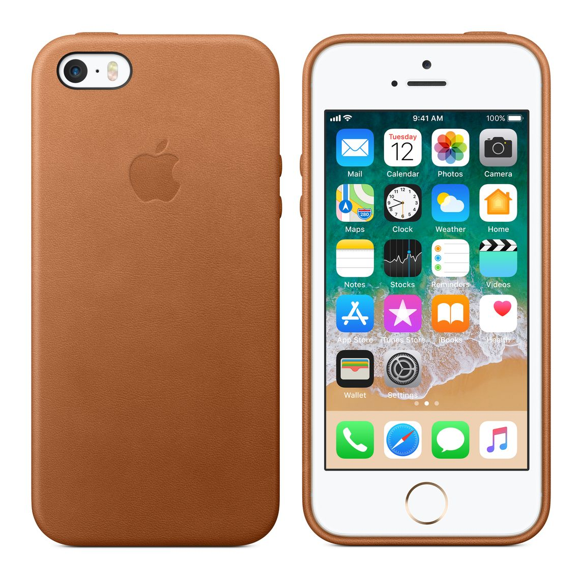 super popular 9be21 ed1b1 iPhone SE Leather Case - Saddle Brown